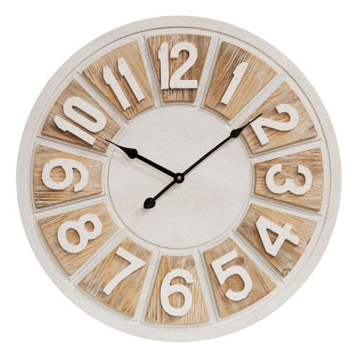 Washed White and Natural Wooden Wall Clock 50cm Diameter